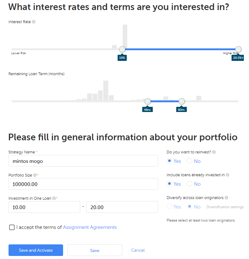 What interest rates and terms are you interested in