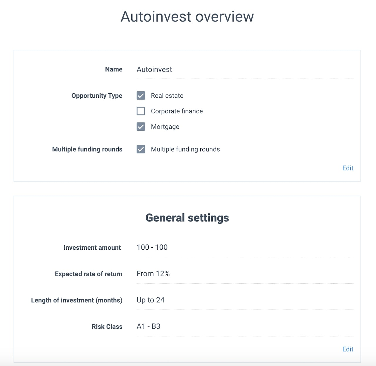 Auto investing overview and general settings
