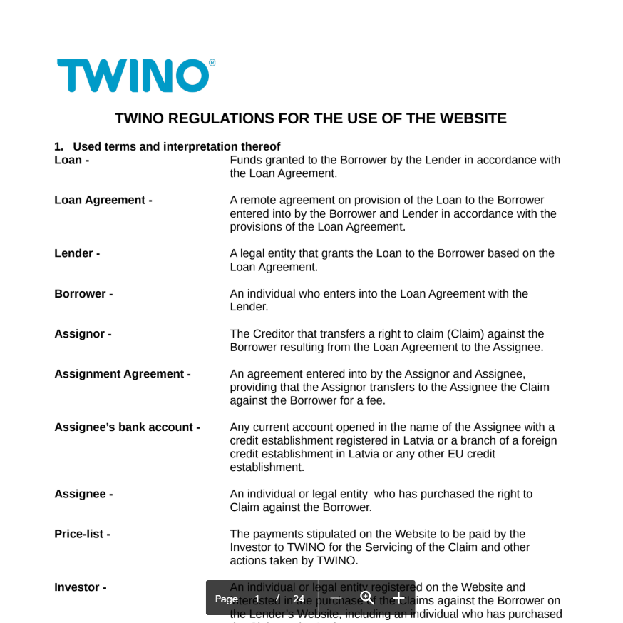 Twino regulations for the use of the website