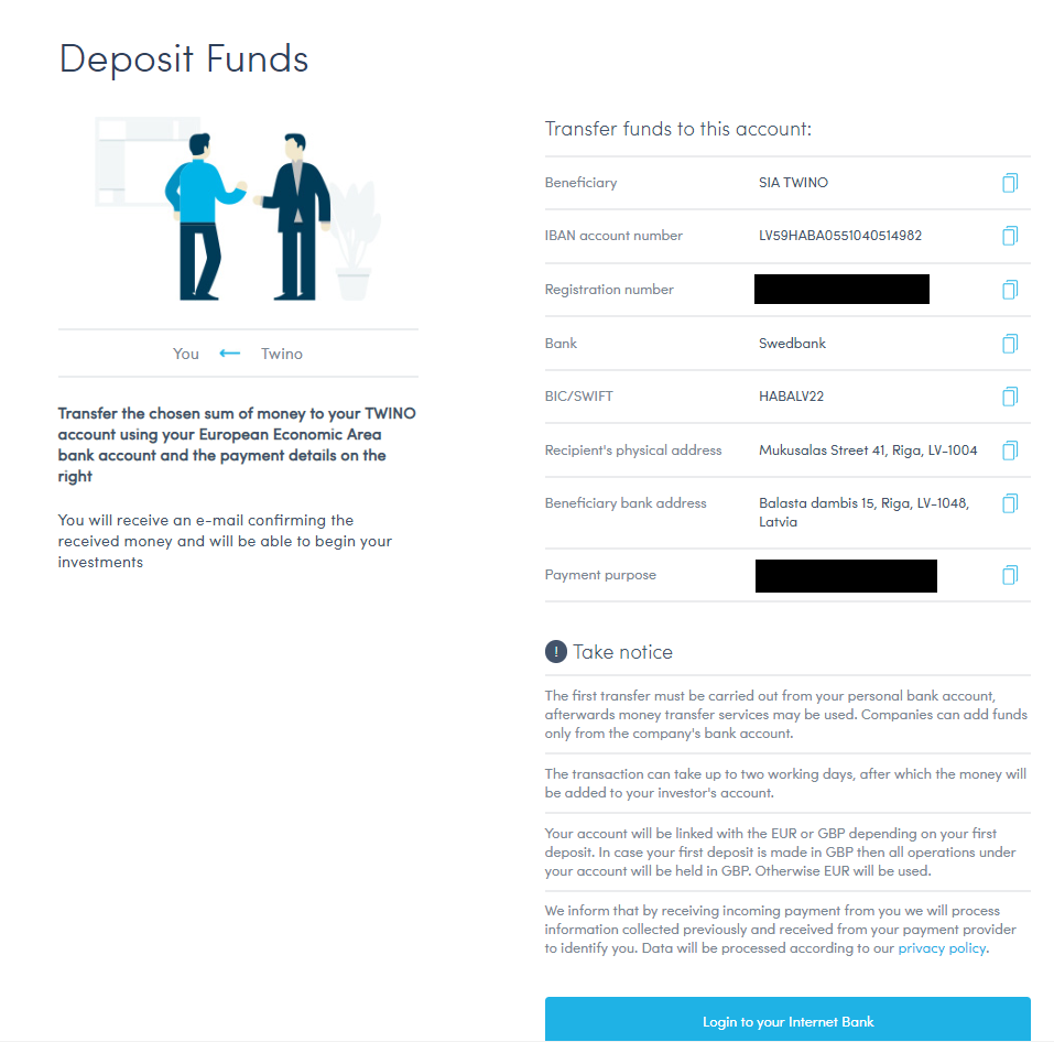 Twino how to deposit funds