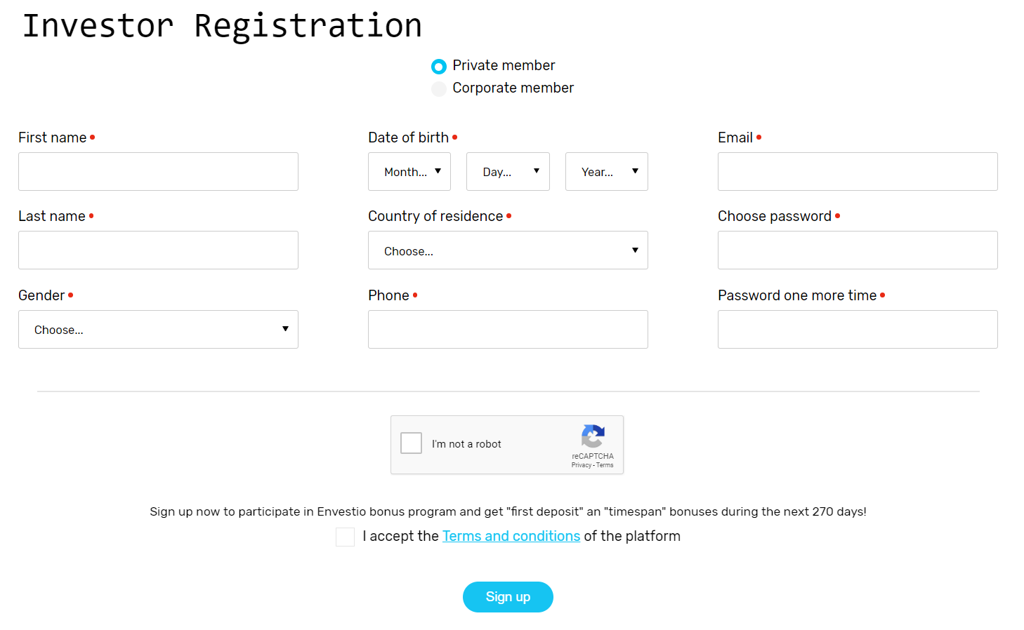 Envestio - how to register your account