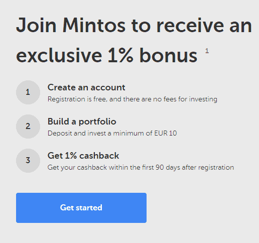 Join Mintos to receive and exclusive 1% bonus
