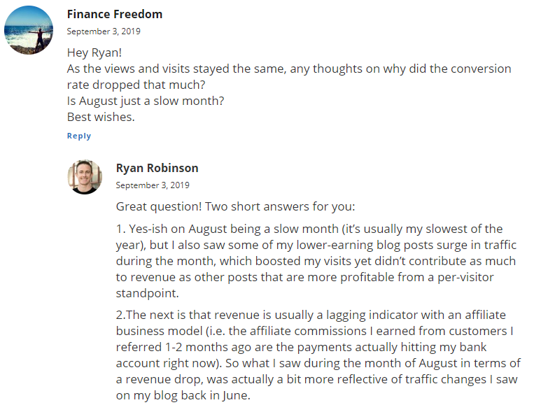 Ryan Robinson answer to august commentary
