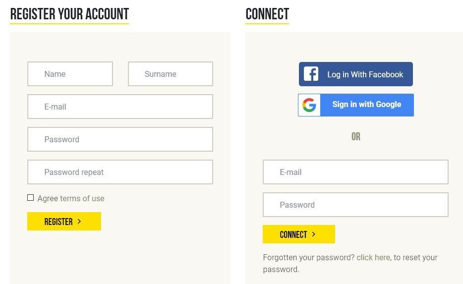 Register your account screenshot