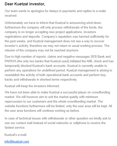Kuetzal news about winding down the platform and having AML initiated