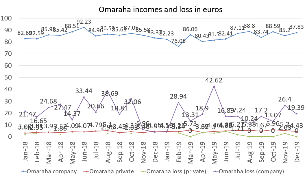 Omaraha incomes and loss in euros, december 2019