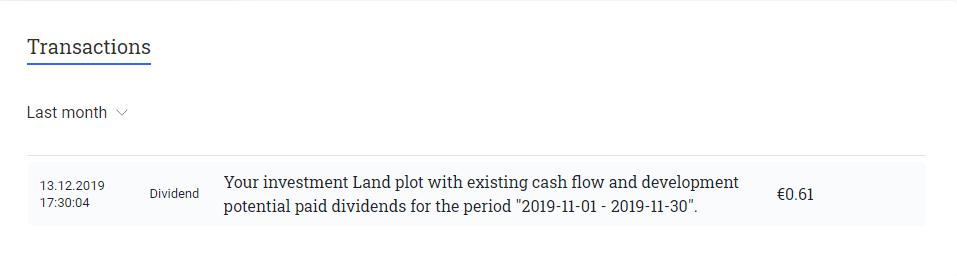 Reinvest24 transactions in december 2019