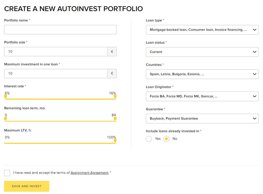 Create a new autoinvest portfolio viventor