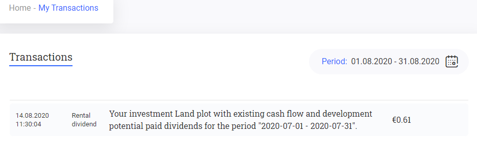 Reinvest24 transactions august 2020