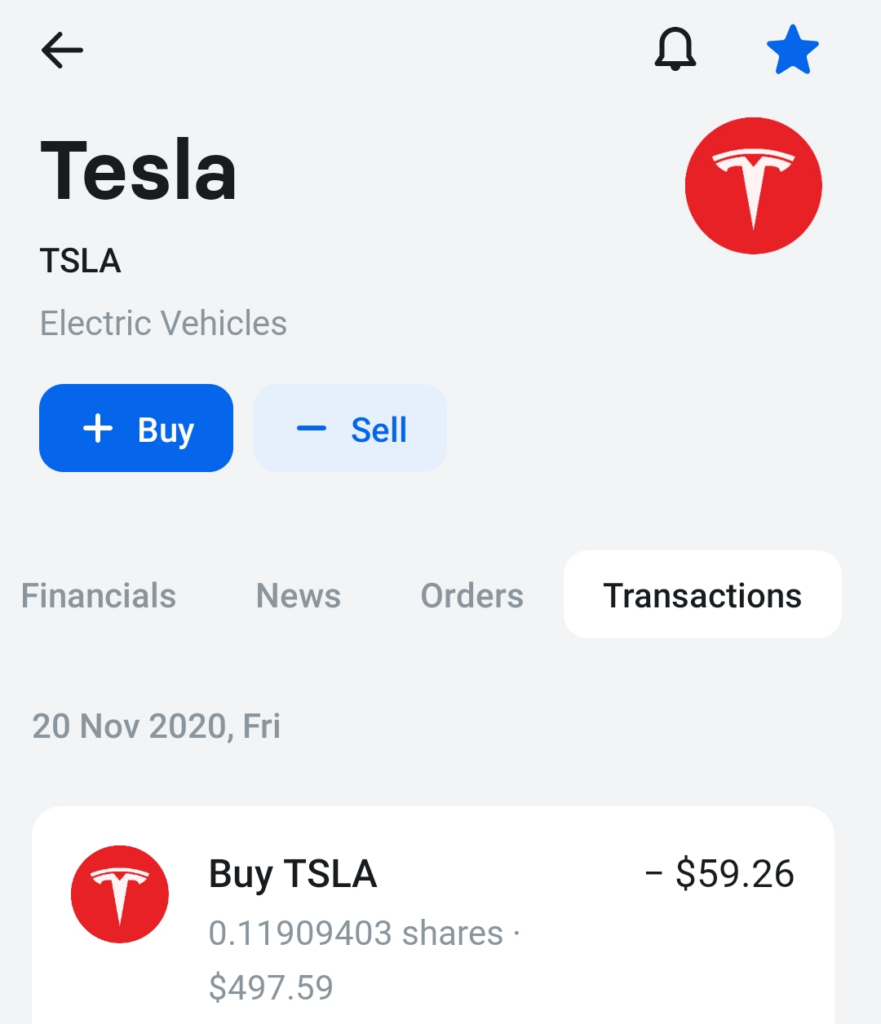 Tesla stock private account