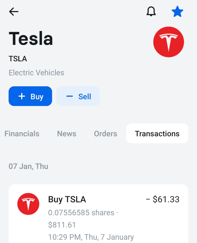 Bought more TSLA stock at 7th January 2021