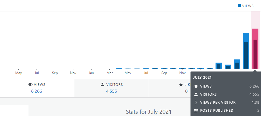 Niche site stats for july 2021